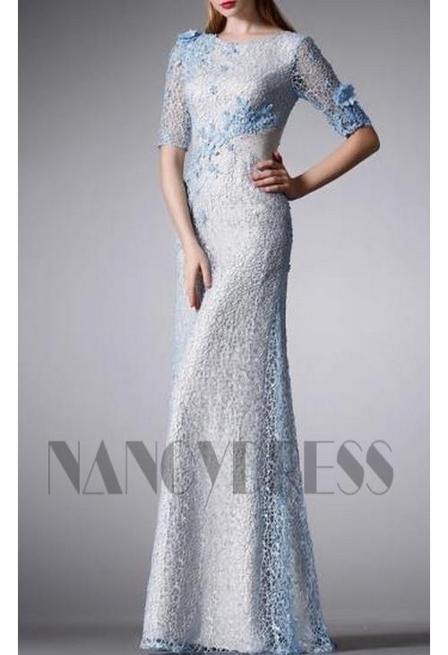 robe de soirée bleu brillant
